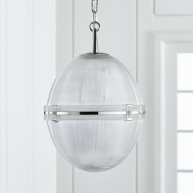 Windsor glass globe polished nickel pendant crate and barrel