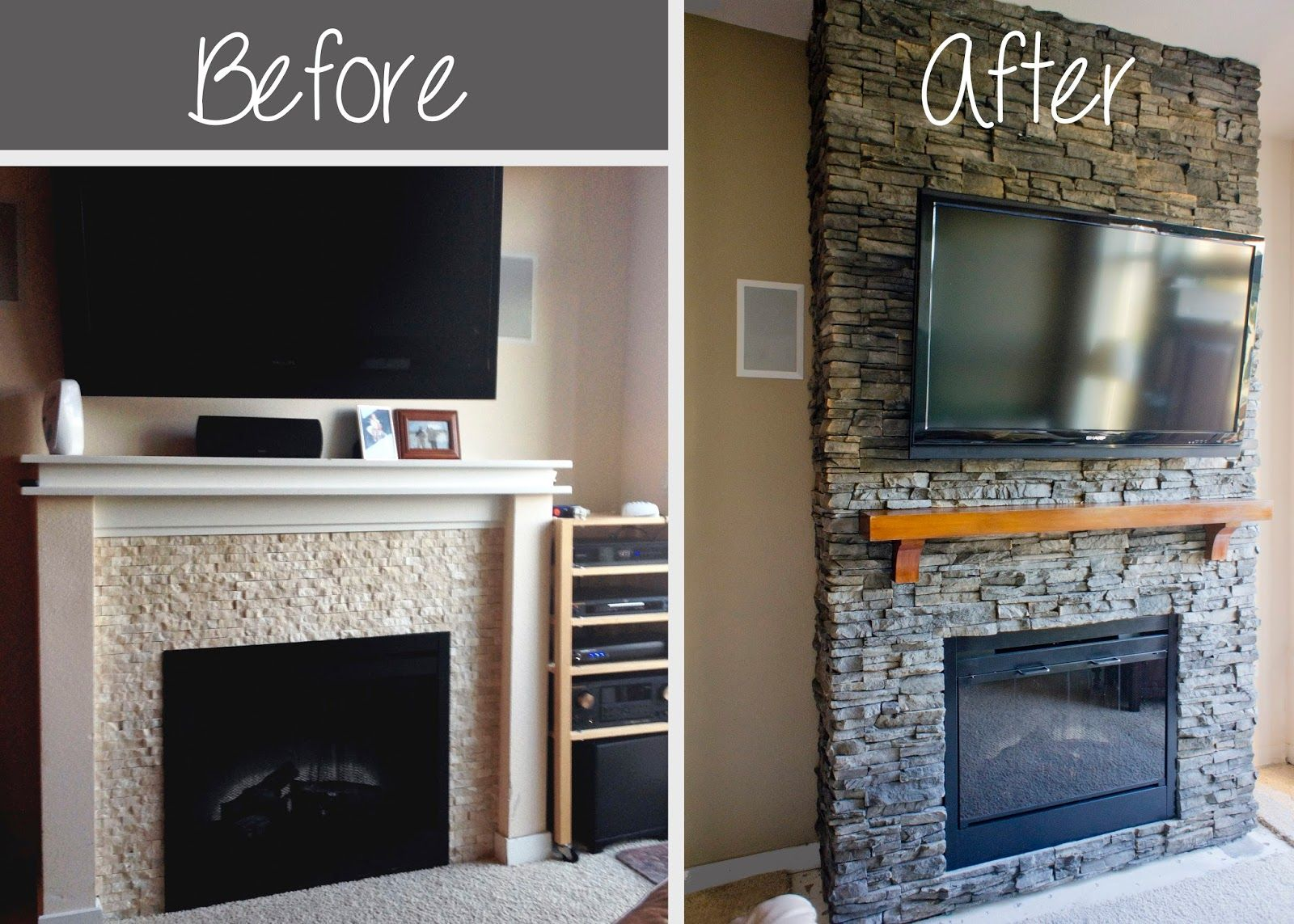 faux stone fireplace diy | DIY Stacked Stone Fireplace (First ...