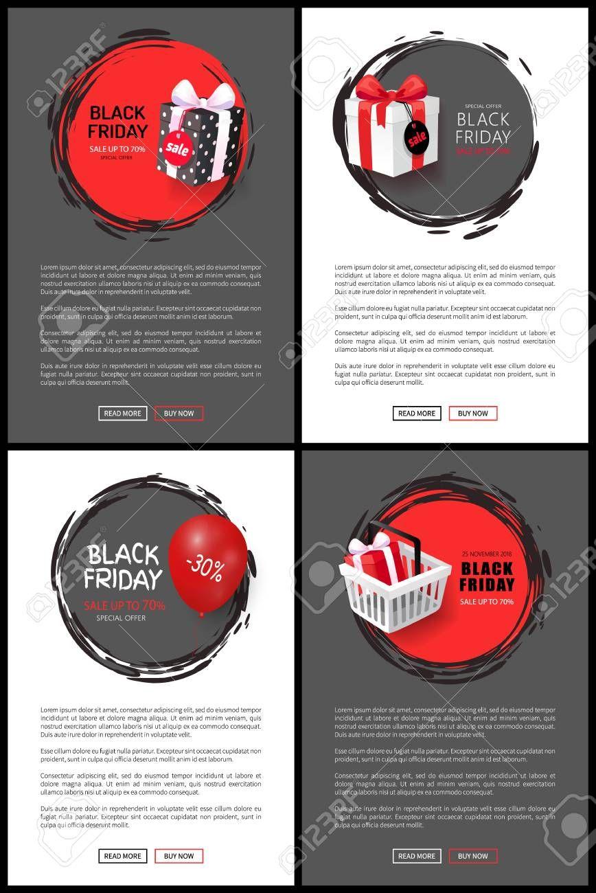 Black Friday 30 percent discounts web pages set vector