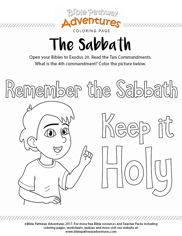 The Sabbath Bible Coloring Page For Kids Bible Study For