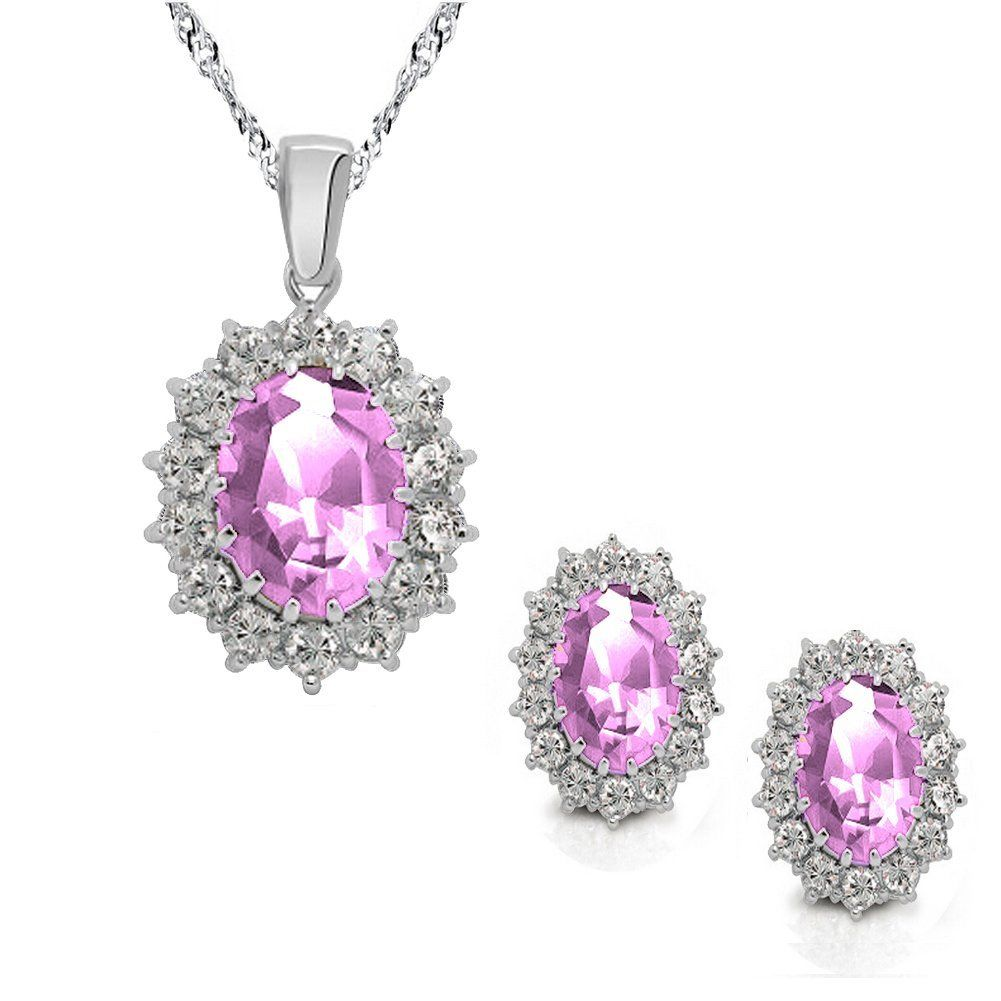 Light purple au crystal halo pendant necklace earrings jewelry set