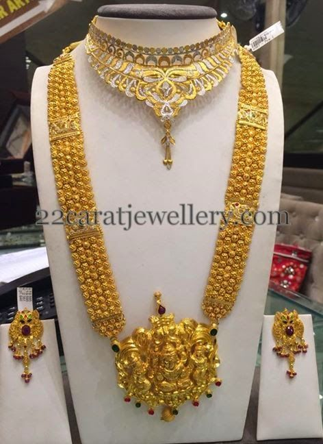 Jewellery Designs Gold Antique Long Haram 110grams Bridal