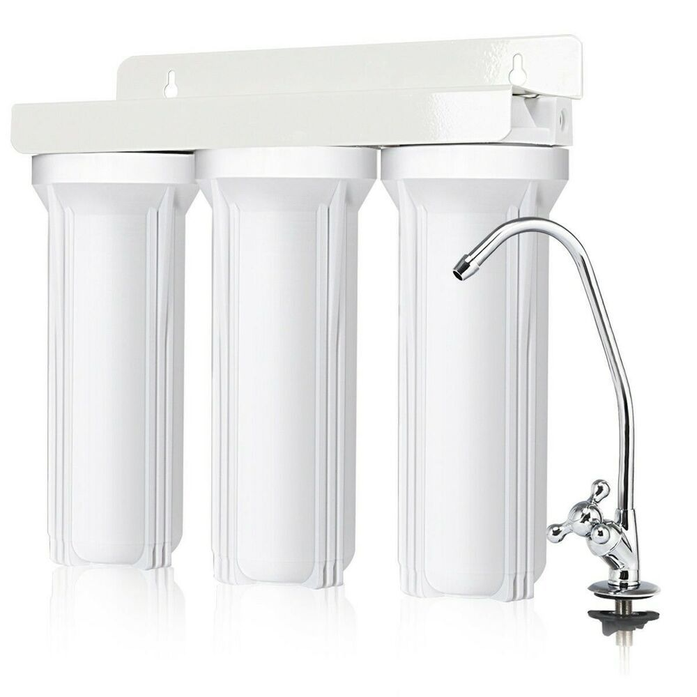 3 Stage Under Sink Water Filter System With Chromed Faucet