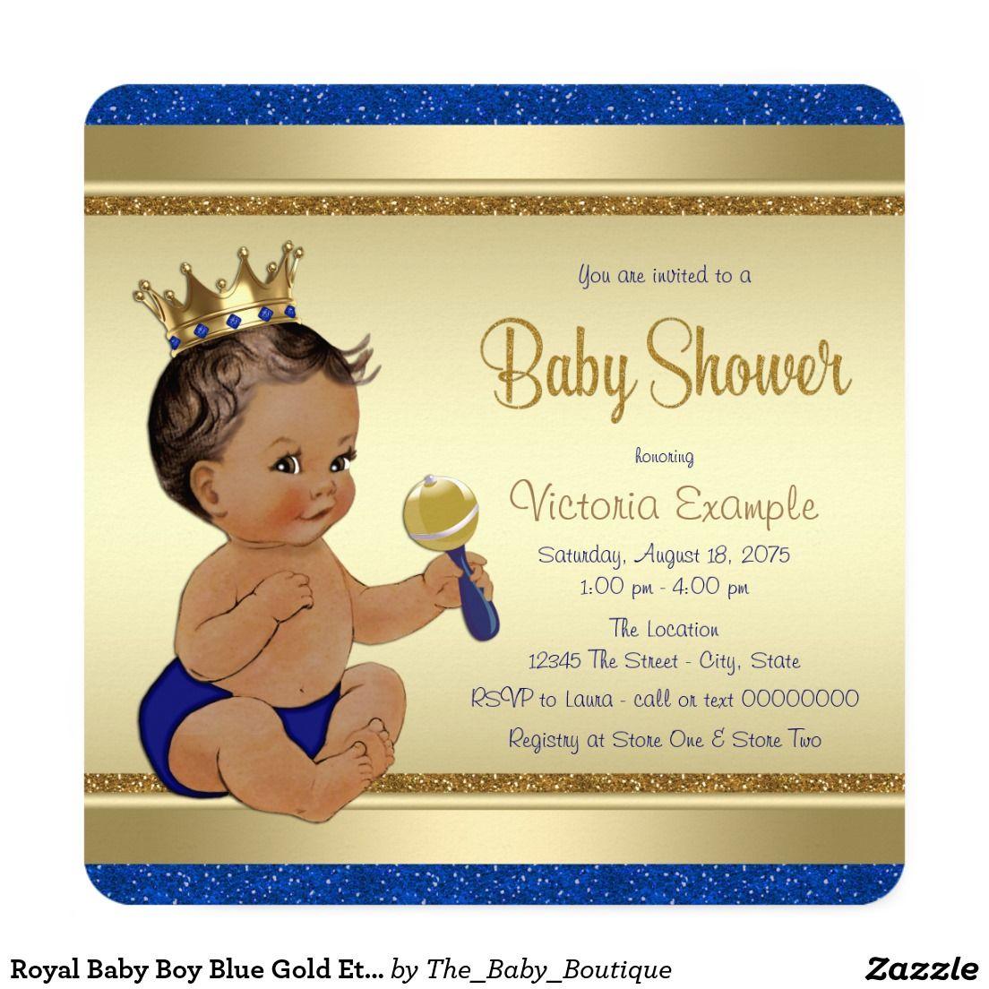 Royal Baby Boy Blue Gold Ethnic Prince Baby Shower Invitation   Boy ...
