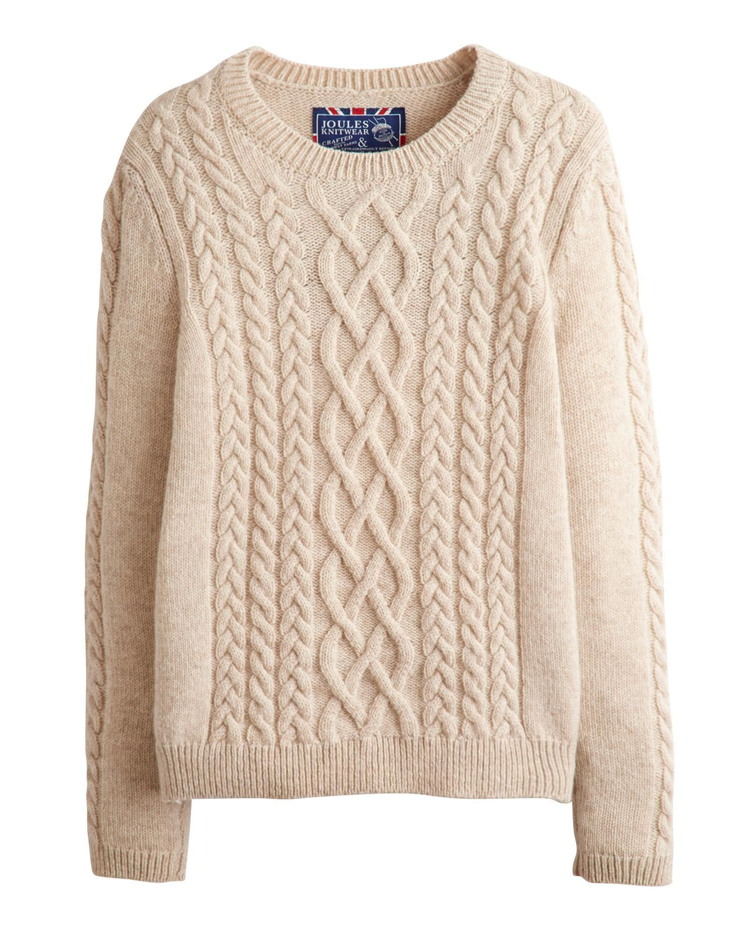 Joules Womens Crew Neck Cable Sweater, Oatmarl. Made in ...