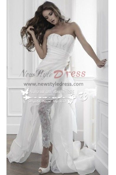 53350f75f9be Unique wedding pants dress with Sweep Train wps-008