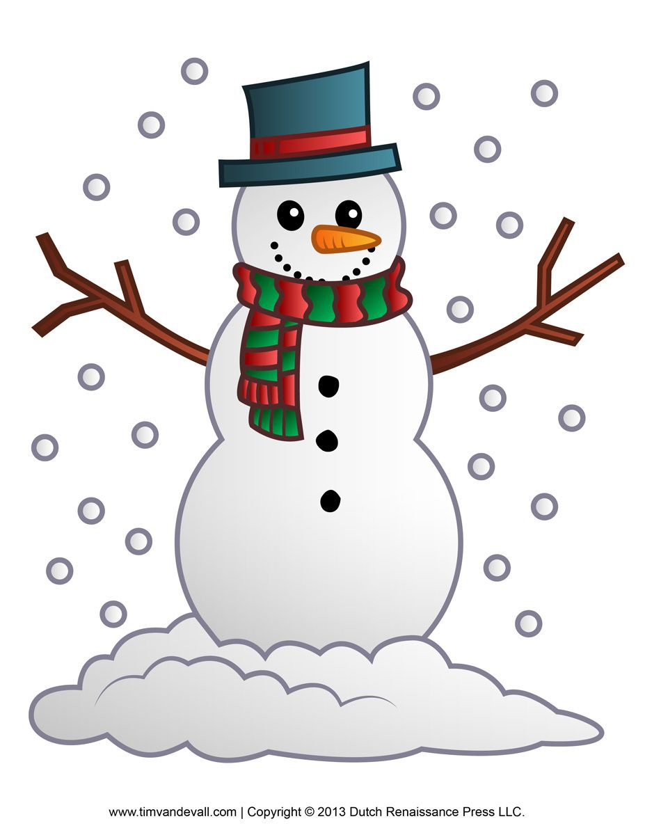 Merry christmas snowman. Free clipart template printable