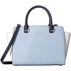 e1afbe97a91c MICHAEL Michael Kors Selma Medium Top Zip Satchel (Pale Blue/White/Admiral) Satchel  Handbags