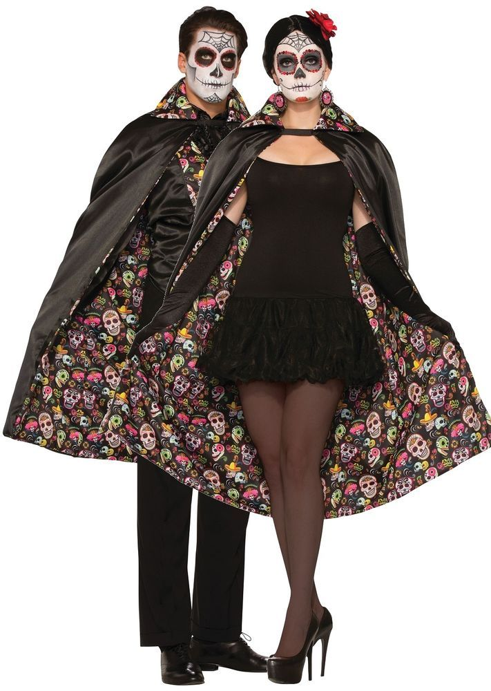 Mens Ladies Mexican Day of the Dead Halloween Fancy Dress Costume Cape Cloak  sc 1 st  Pinterest & Mens Ladies Mexican Day of the Dead Halloween Fancy Dress Costume ...
