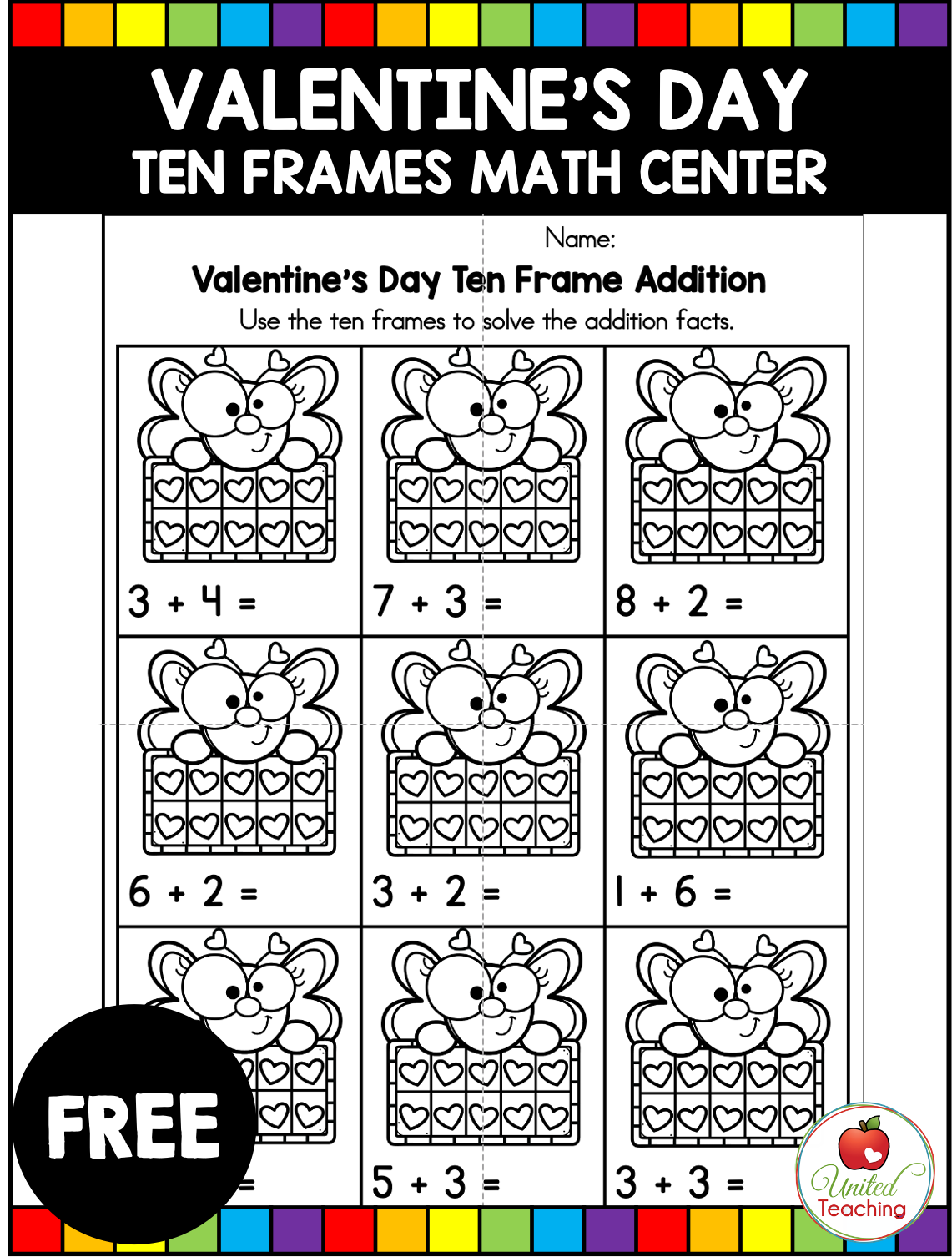 Valentine S Day Addition And Subtraction With Ten Frames