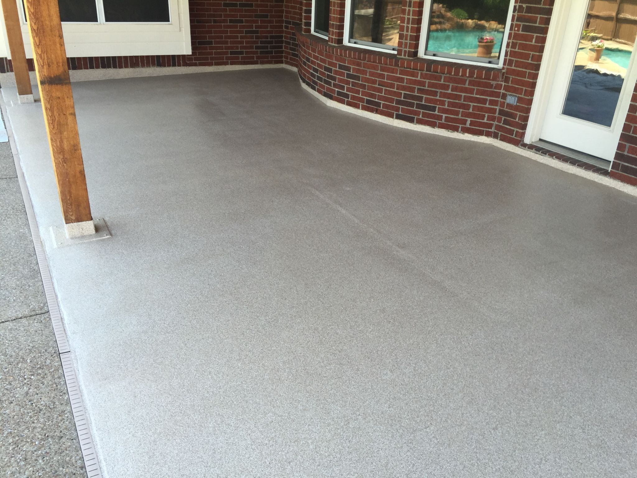 Patio Had Old Paint On It, I Ground Off The Old Paint And Installed One Of  My Epoxy Decorative Flake Floors. A Penetrating Waterproofer Was Applied  Before ...
