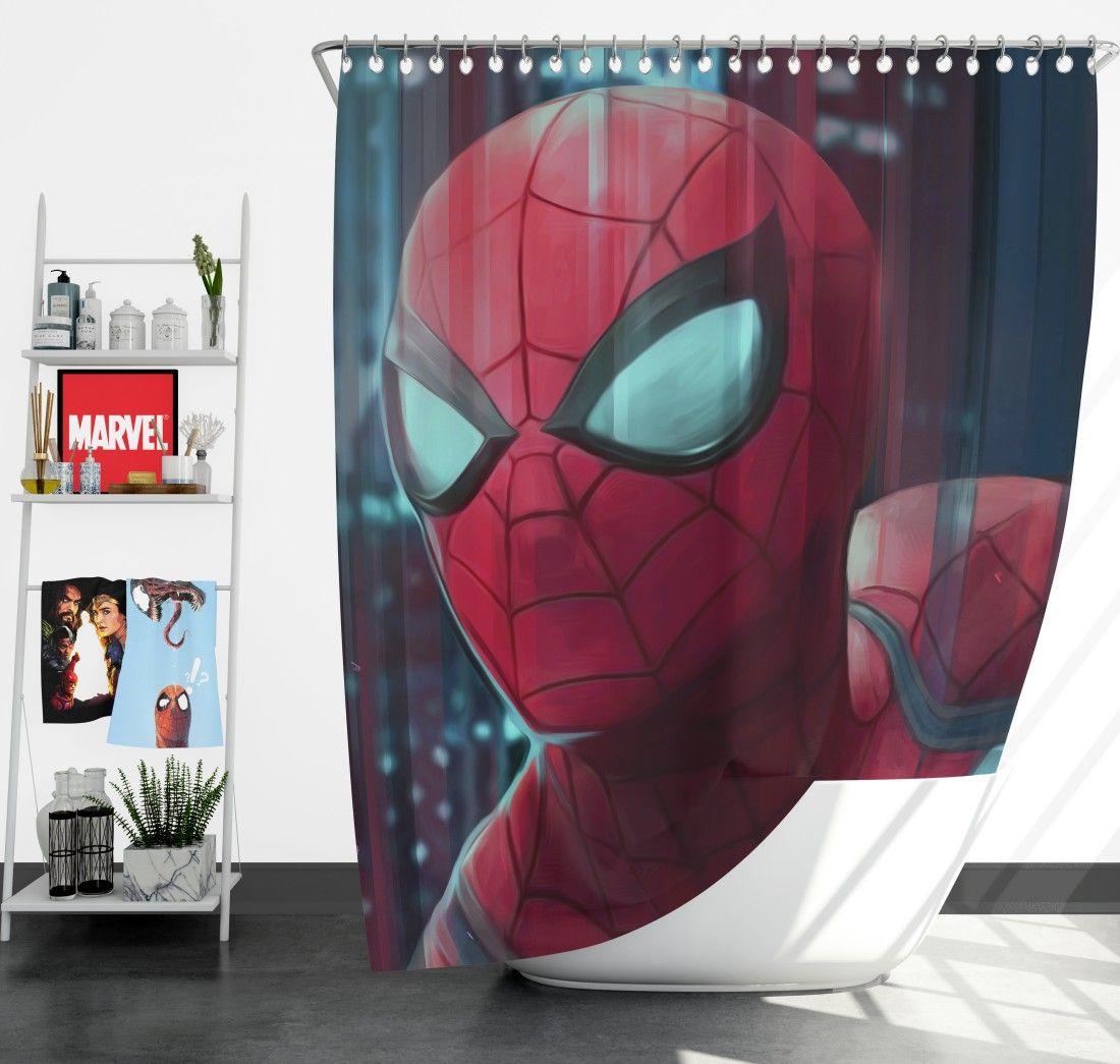 Fantastic Four Spider Man Marvel Shower Curtain Spiderman