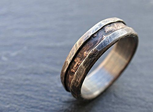Genial Cool Mens Ring Bronze, Unique Wedding Band Bronze Silver, Mens Wedding  Band, Mens