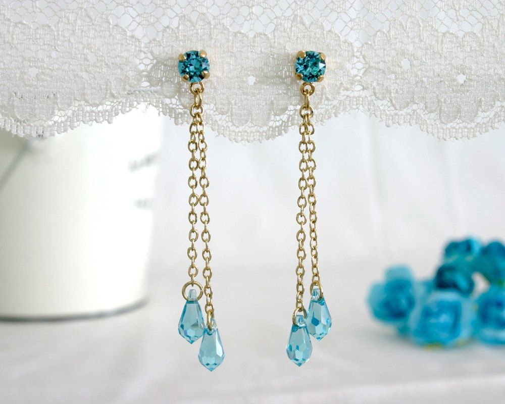 Blue bridal earrings Blue bridal jewelry Something blue Something