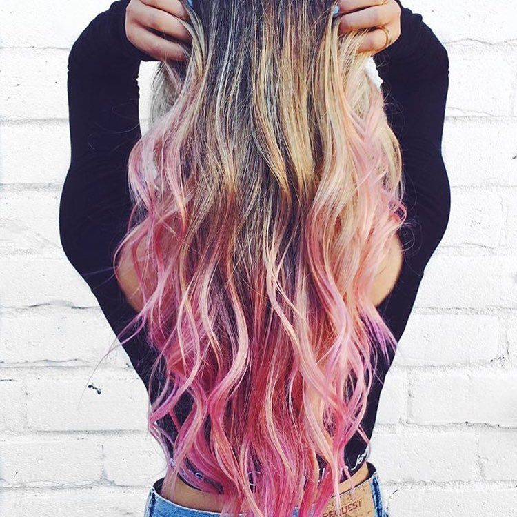 The Exact Internet Beauty Trend For You According To Myers Briggs Colored Hair Tips Blonde Hair With Pink Tips Pink Blonde Hair