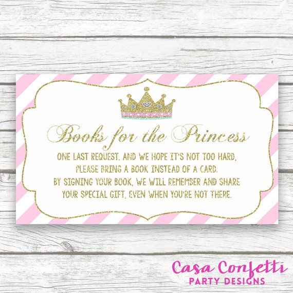bring a book instead of a card baby shower insert, princess baby, Baby shower invitations
