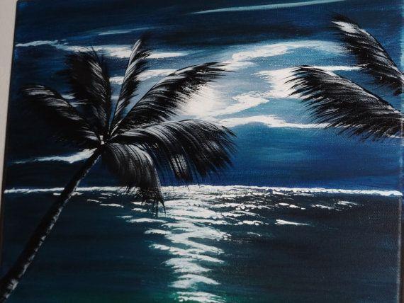 BEACH CANVAS ART PRINT SUNSET PALM TREE SEASCAPE A1