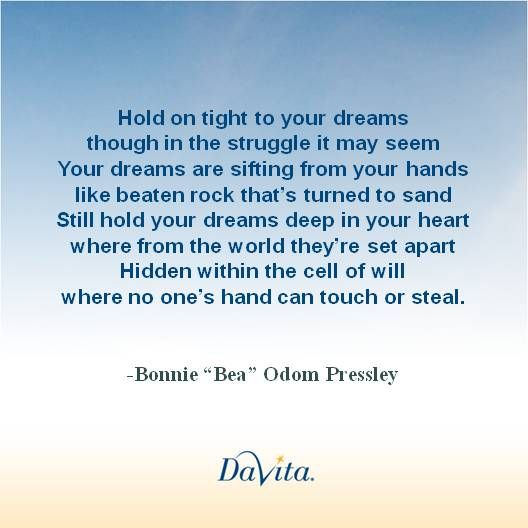 Hold on tight to your dreams