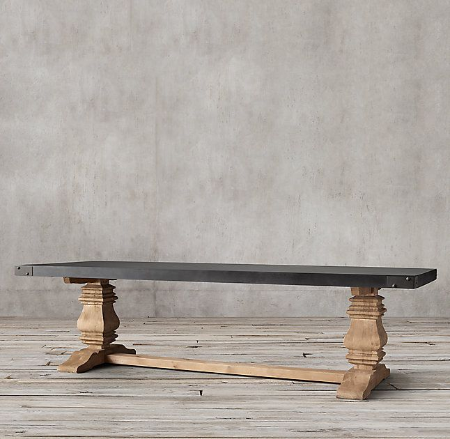 Rh S Salvaged Wood Concrete Trestle Rectangular Dining Table Our Table Pairs A 3 Thick Slate Grey Concr Concrete Wood Salvaged Wood Rectangular Dining Table