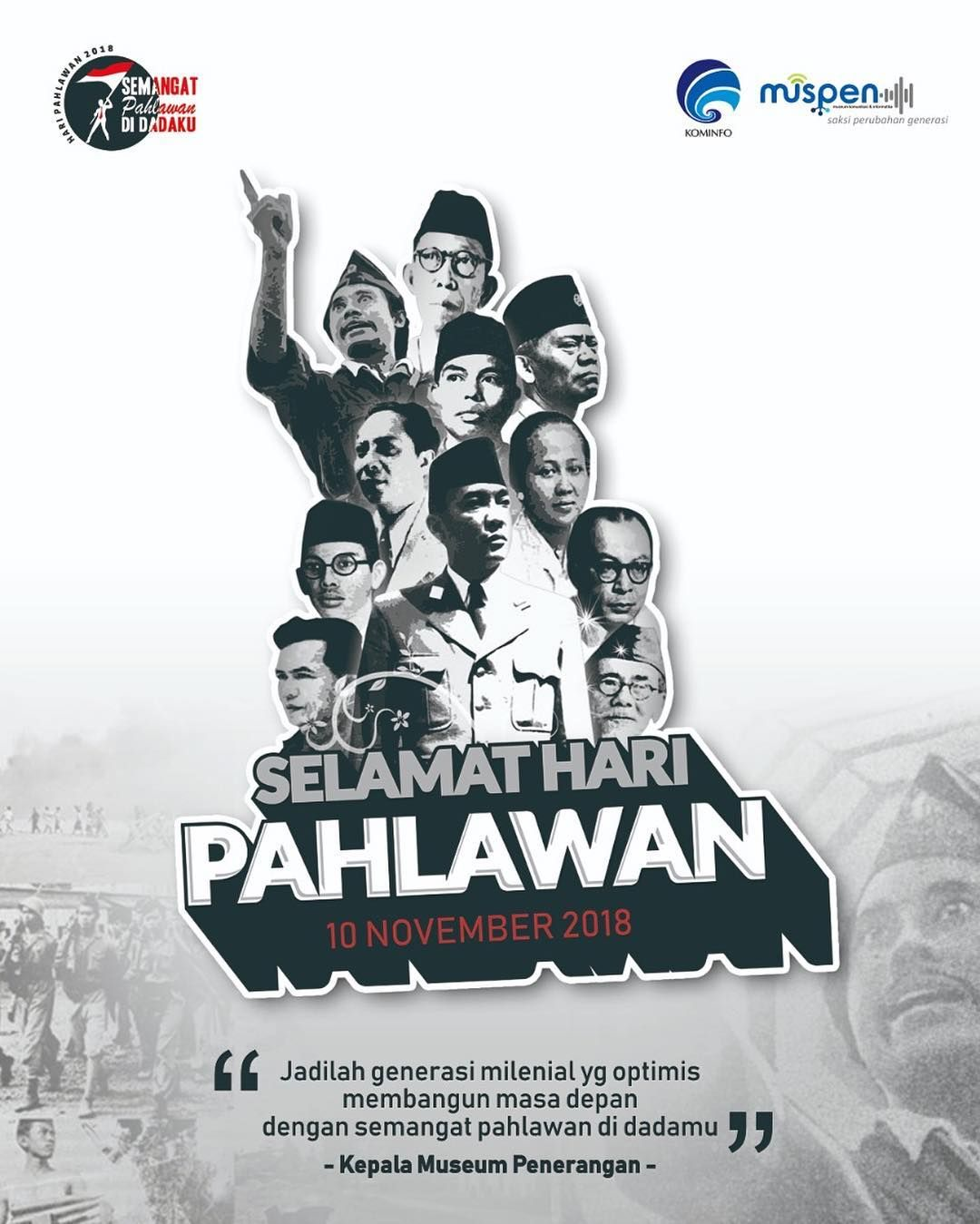 Background Hari Pahlawan : background, pahlawan, Museum, Penerangan, Selamat, Pahlawan, Museum,, Instagram,, Islamis
