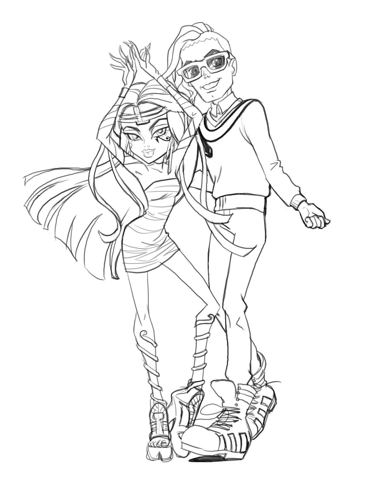 Monster High - Cleo and Deuce in sketch form for the movie Boo York ...
