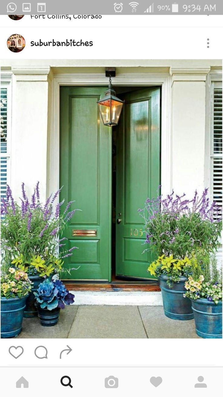 Kelly green door and gorgeous pots!- Kelly green door and go…