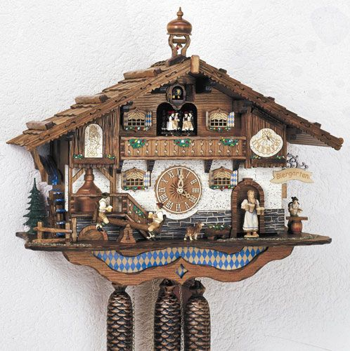 Cuckoo-Palace Large German Cuckoo Clock Black Forest Clock The Seesaw Mill Chalet with Quartz Movement with Moving Seesaw