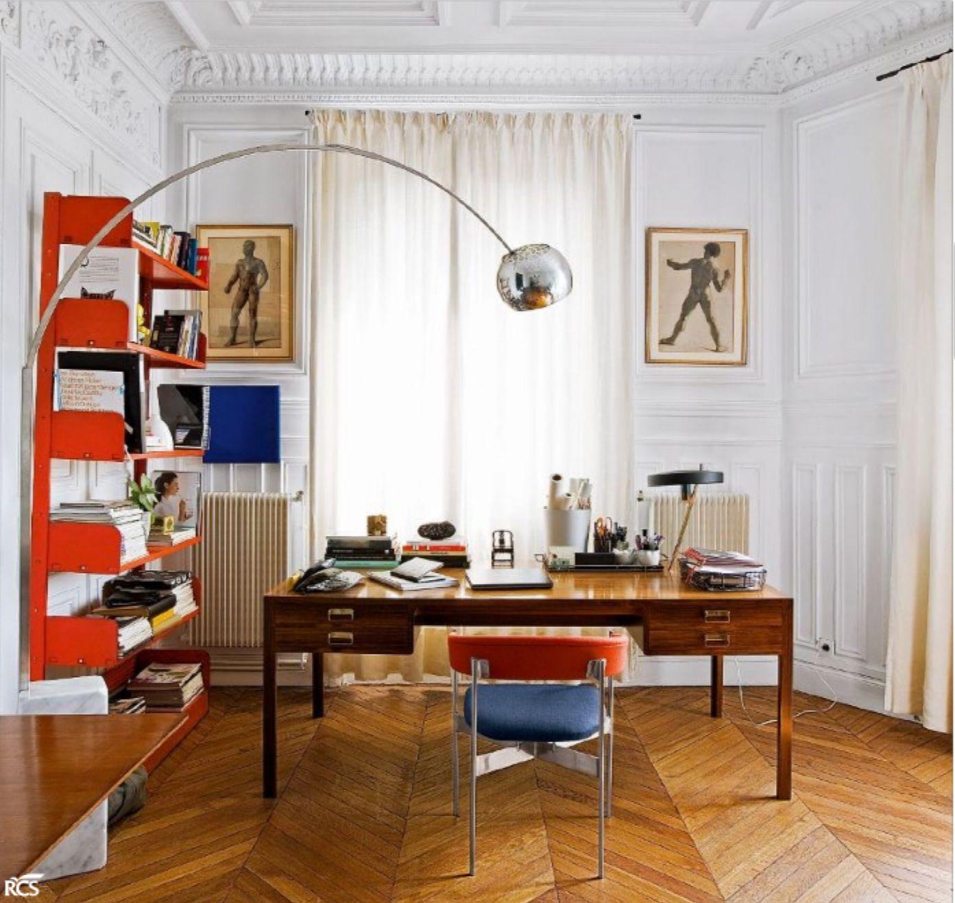 50s desk, Lips Vago bookshelf, Castiglioni Arco floor lamp furnish ...