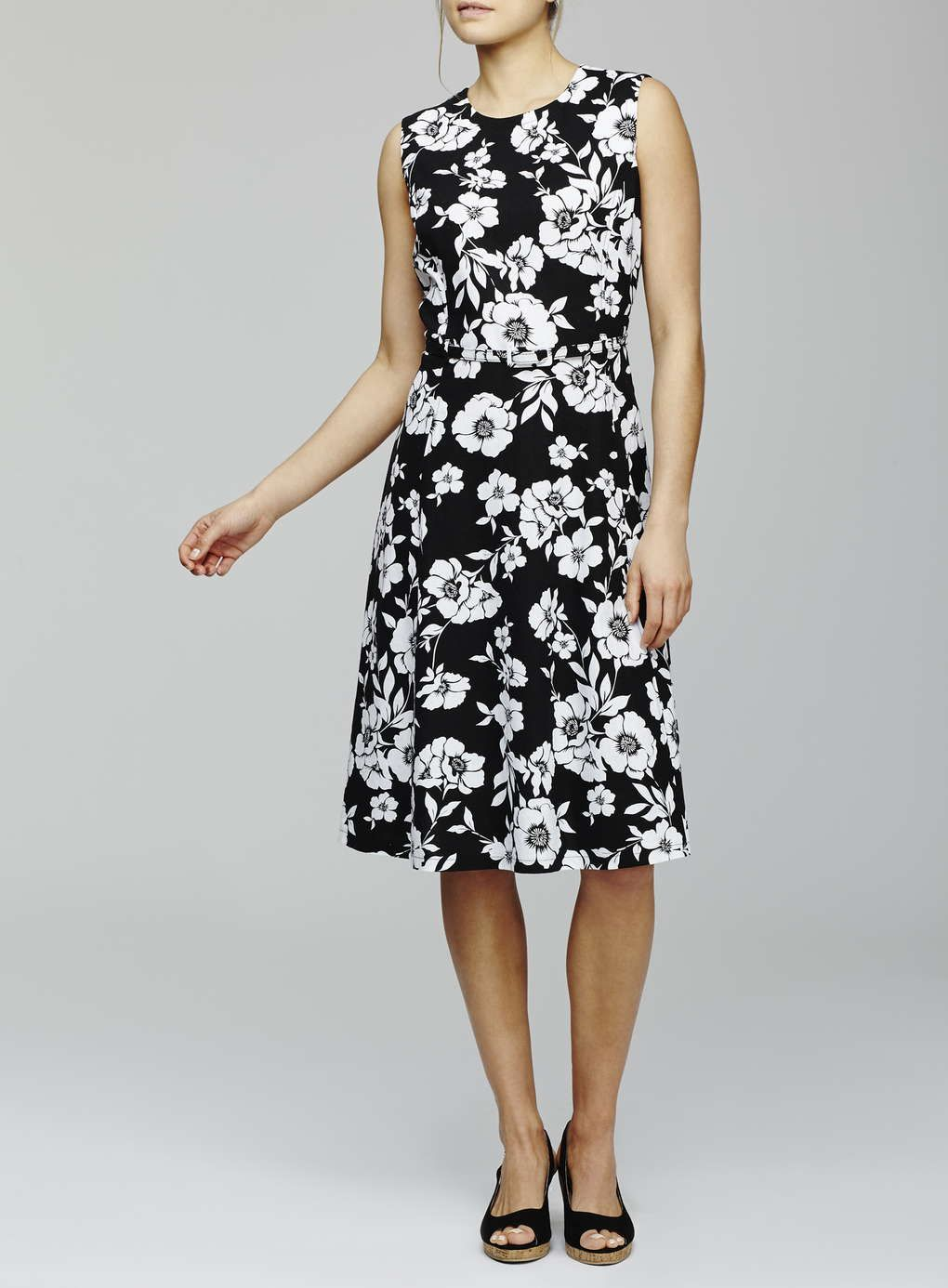 Floral Fit And Flare Linen Skater Dress, Monochrome