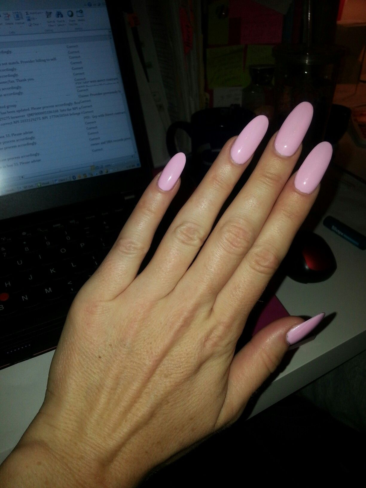 Oval Long Bellet Slipper Pink Nails Oval Nails Pink Oval Nails Rounded Acrylic Nails