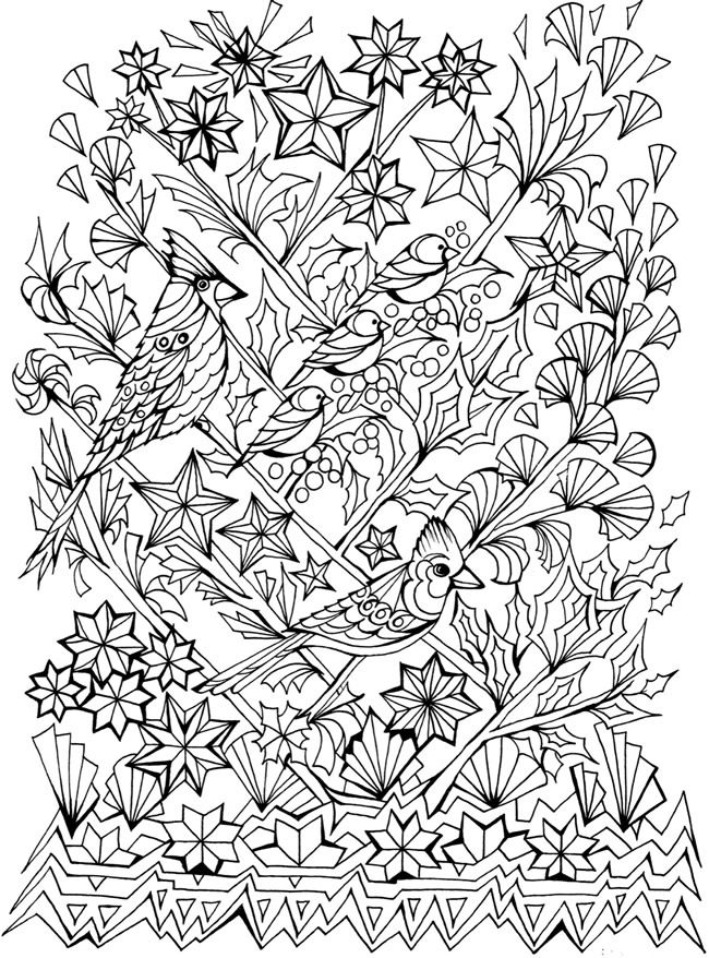 Creative Haven Deluxe Edition Four Seasons Coloring Book -- 6 sample - copy coloring pictures of flowers and trees