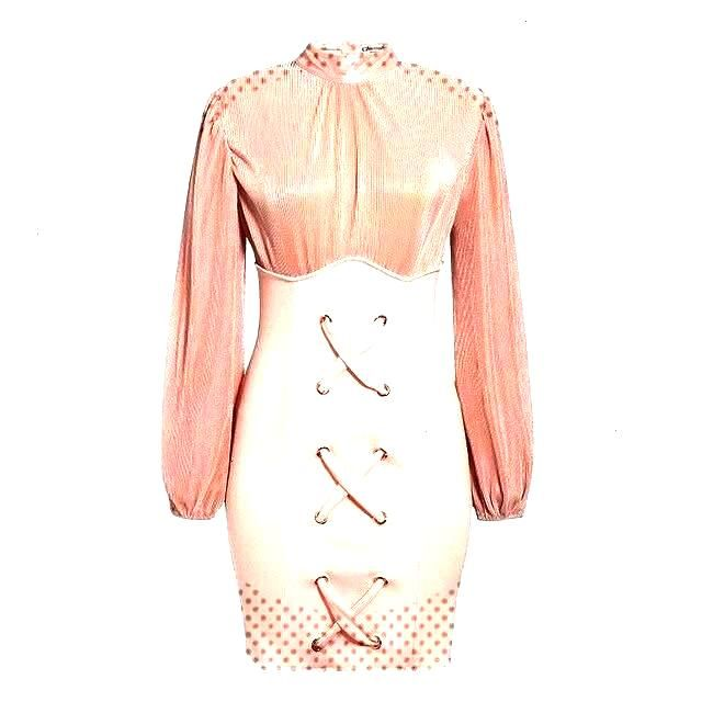 Pink Lantern Sleeve High Waist Dress You can find Swag and more on our website.Pink Lantern Sleev..