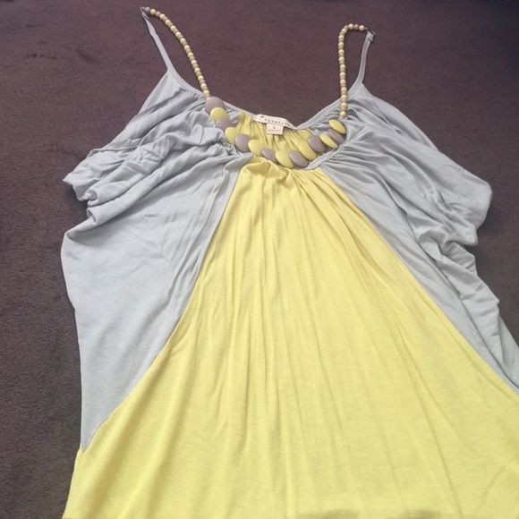 Beaded neckline cami Gray and yellow beaded Necklace camisole Tops Camisoles