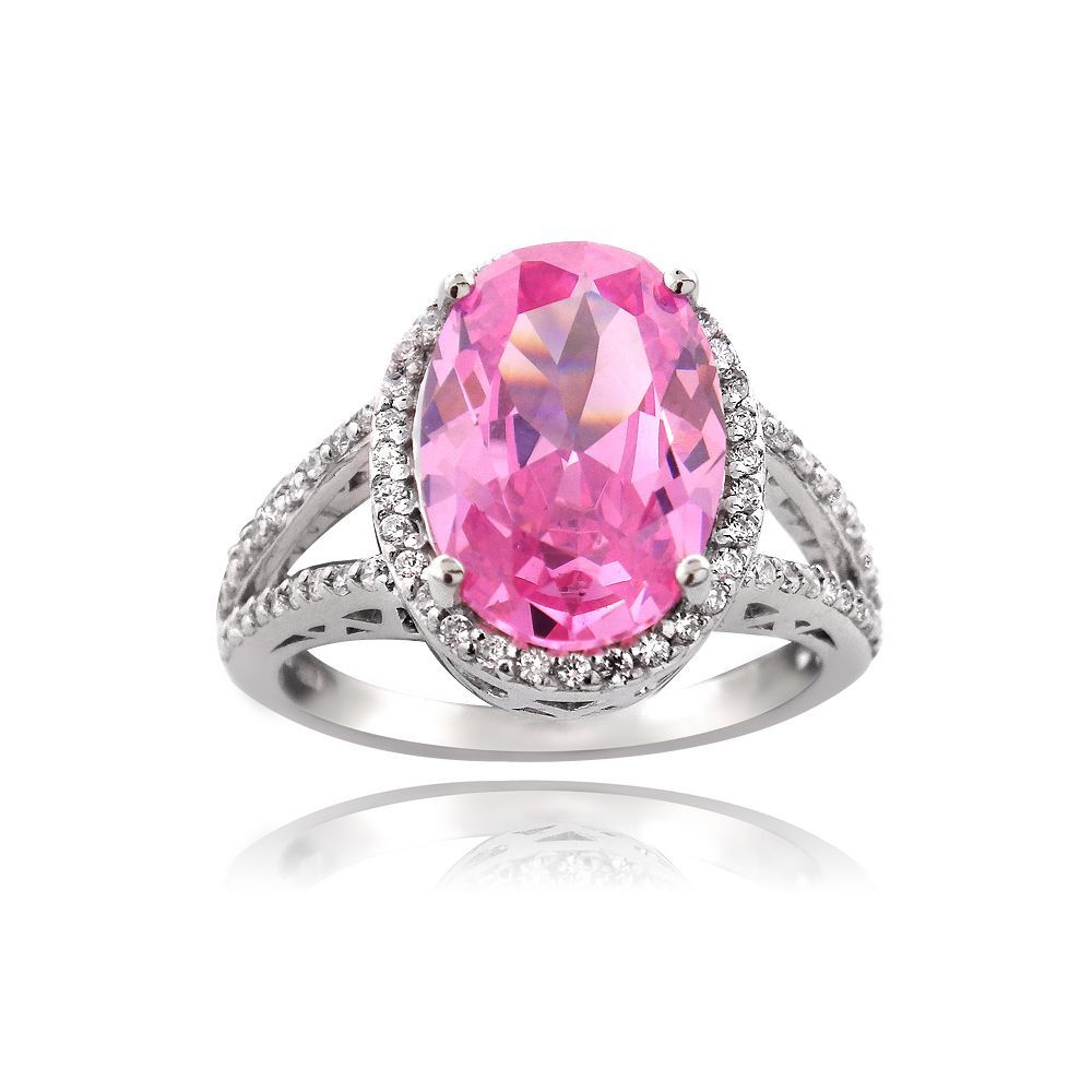 Icz Stonez Silver 9 4/5ct TGW Pink Cubic Zirconia Ring (Size 10 ...