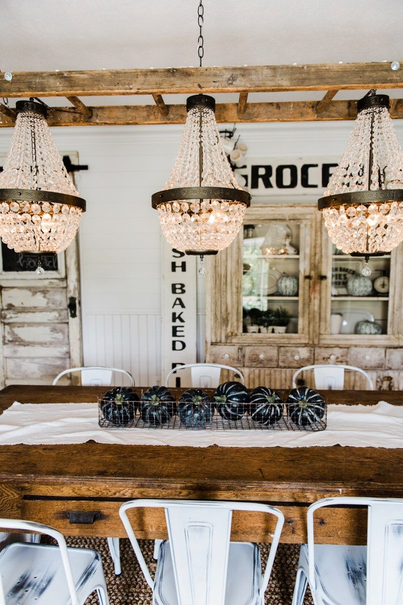 Farmhouse dining room makeover Crystal chandelier