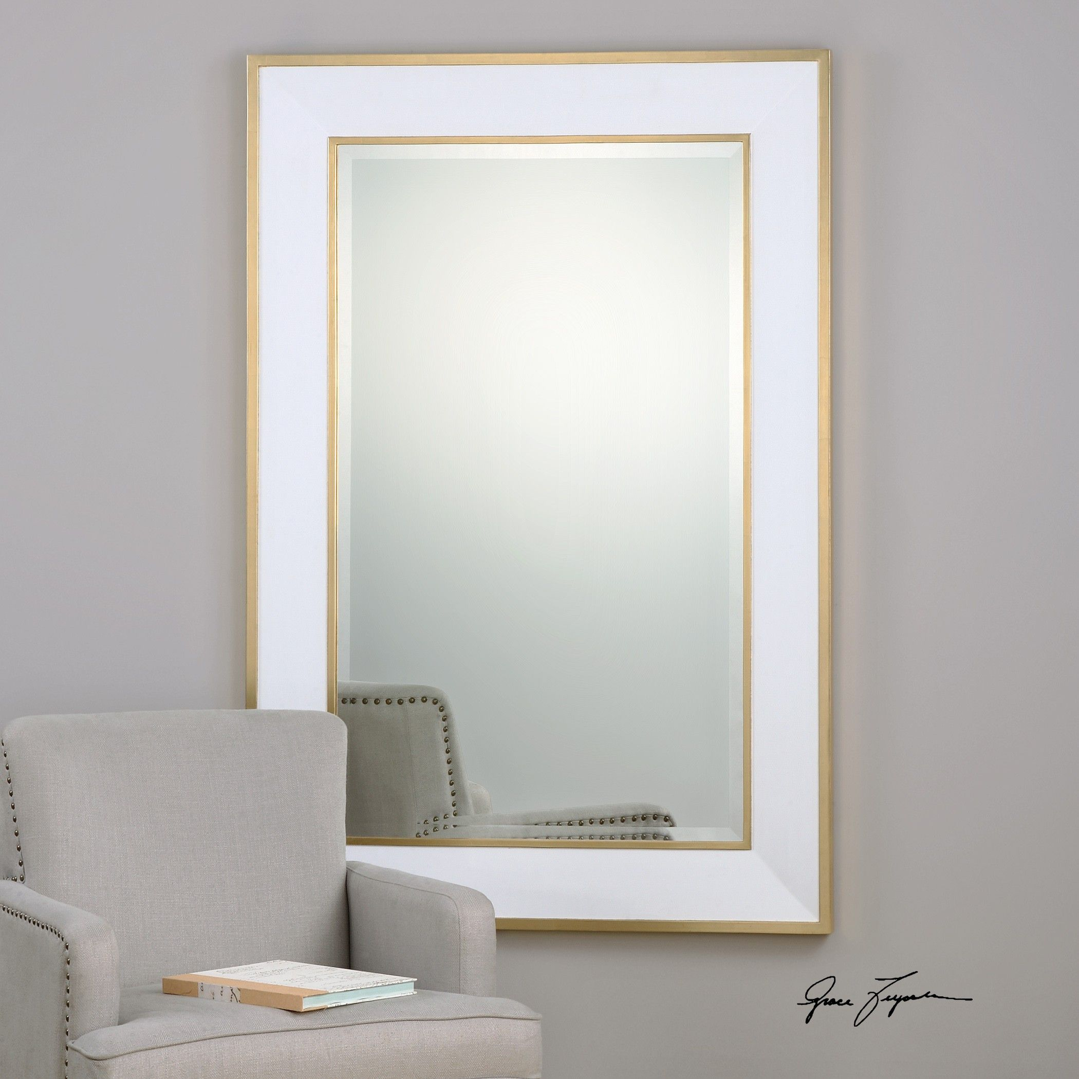 The Cormor White Wall Mirror Has A Gloss White Frame