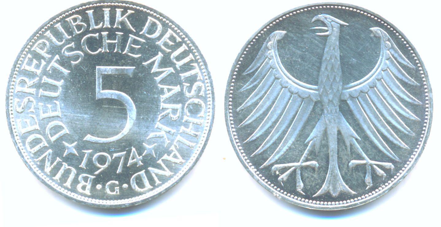 DEUTSCHLAND 5 Deutsche Mark, Kursmünze, 1974 G, Stgl