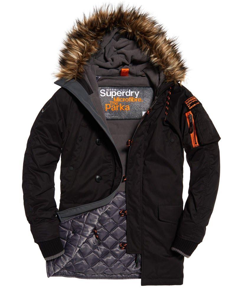 Superdry Microfibre Parka Coat Black Mens Jackets Casual Mens Jackets Cargo Jacket Mens [ 1000 x 820 Pixel ]