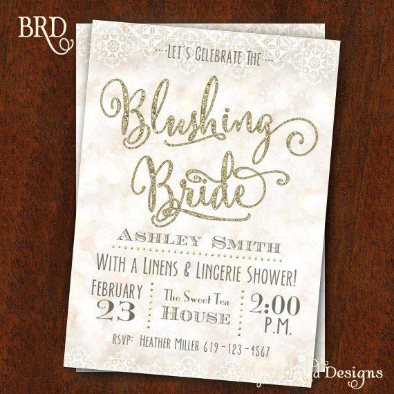 bridal shower invitation blushing bride lingerie shower bachelorette party invitation bokeh gold lace bridal shower 5x7 printable on etsy 1500