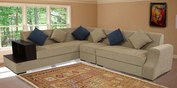 Outstanding Arlo Rhs Sectional Sofa With Pouffe In Beige Colour By Inzonedesignstudio Interior Chair Design Inzonedesignstudiocom