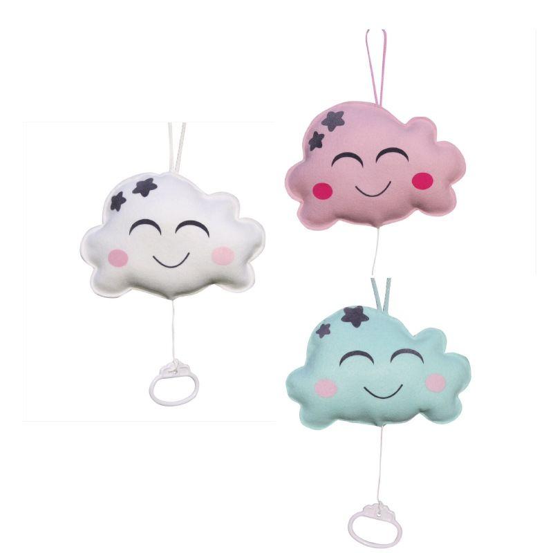 Wolken muziekdoosje in wit roze of mintgroen babyspeelgoed wolkjes decoratie kinderkamer - Babykamer decoratie ...