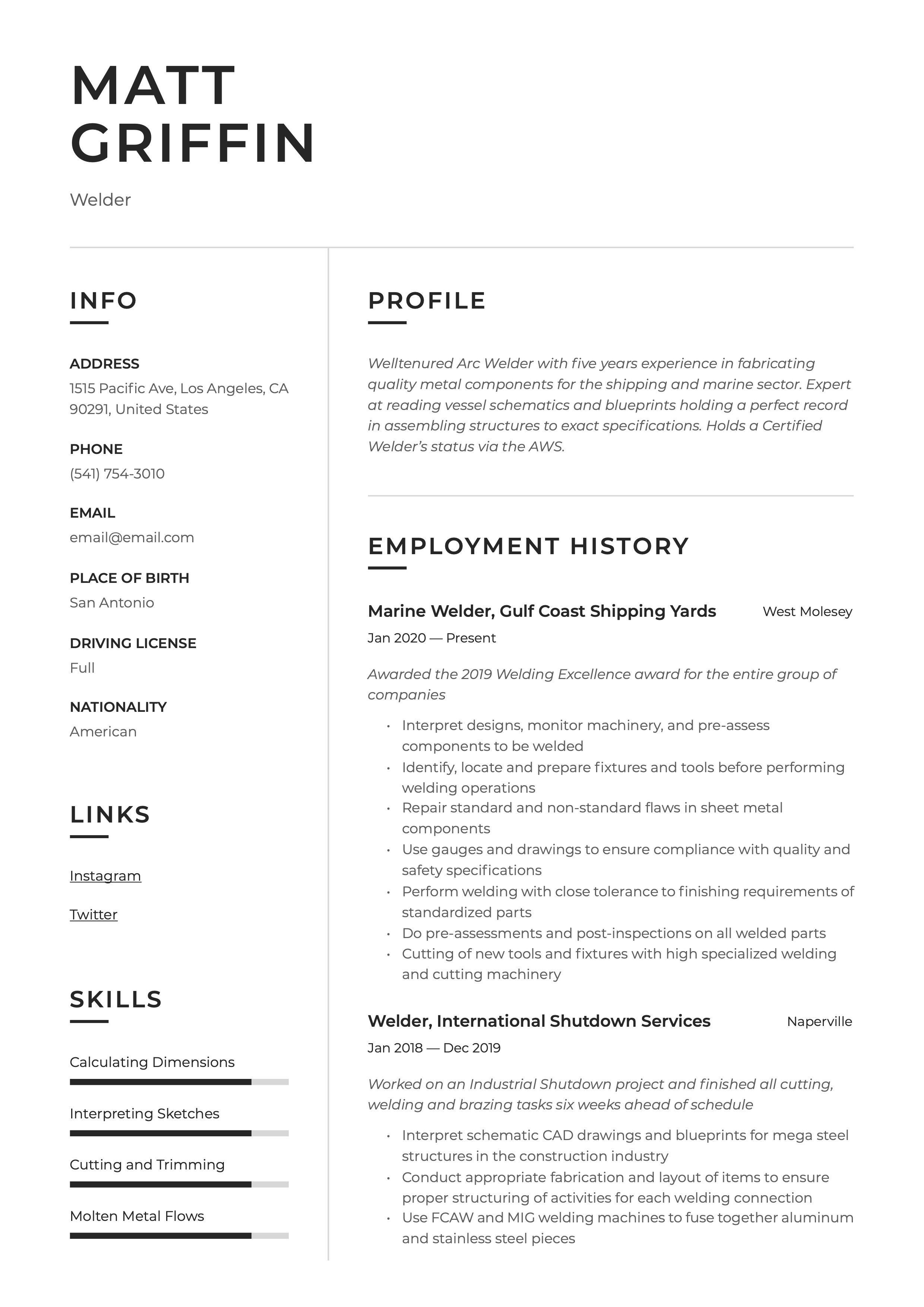Welder Resume Template Resume Examples Professional Resume Examples Resume Guide