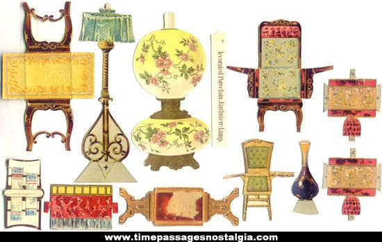11 Miscellaneous 1800s Victorian Paper Doll Furniture