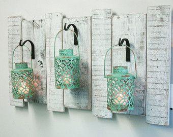 Shabby Grey Lanterns on upcycled wood board-Rustic decor | Shabby ...
