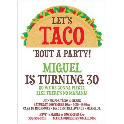 taco party fiesta invitation customize with your wording let s