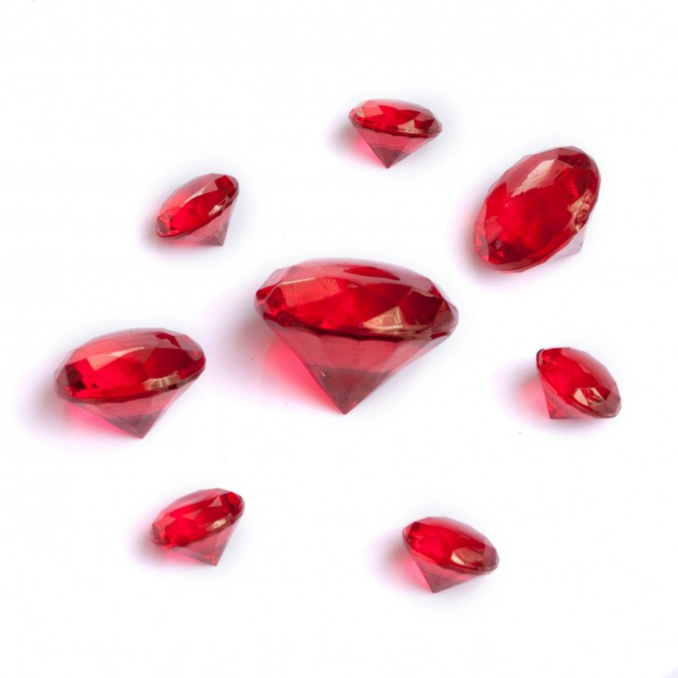 Assorted Sizes Table Diamond Decor Ruby Red 2226003 Ruby Red