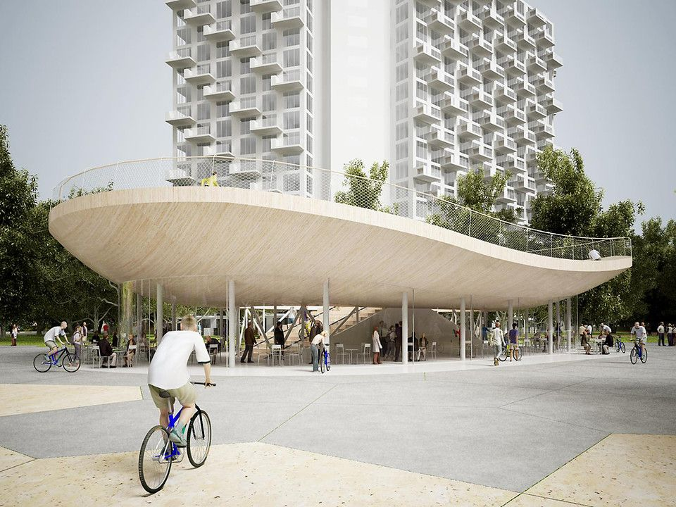 A Cafe Where You Can Ride Your Bike On The Roof Pavilion