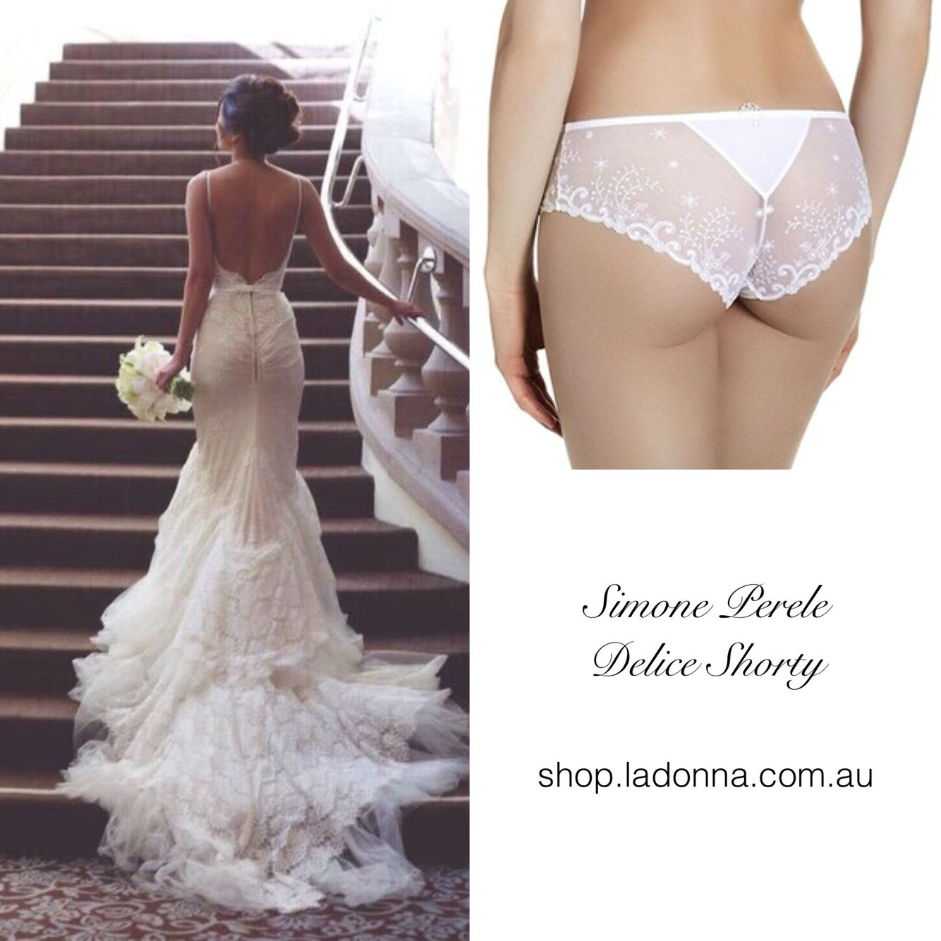 Lingerie under wedding dress  Bridal inspiration The Simone Perele Delice Shorty would work