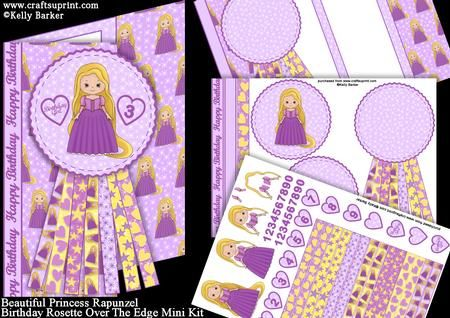 Beautiful Princess Rapunzel Birthday Rosette Over the Edge on Craftsuprint - View Now!