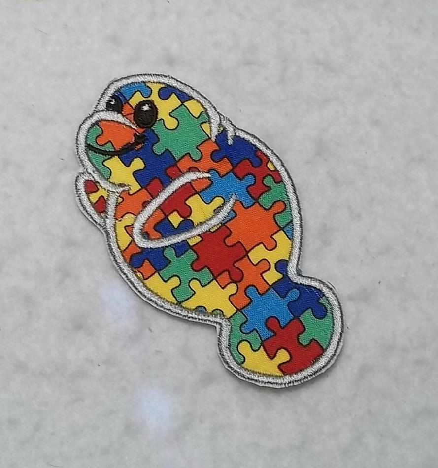 manatee autism awareness puzzle piece made to order choose size